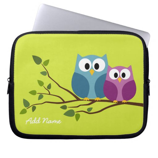 Cute Owl Couple Drawing on a Tree Branch Computer Sleeve   Zazzle Owl ...