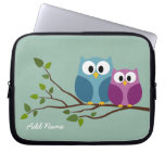 Cute Owl Couple Drawing on a Tree Branch Laptop Computer Sleeves