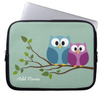 Cute Owl Couple Drawing on a Tree Branch Laptop Sleeve