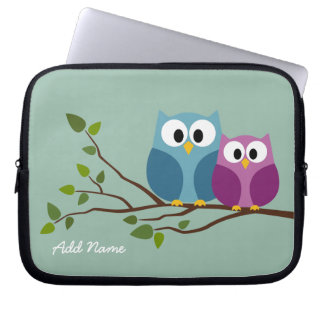 Cute Owl Couple Drawing on a Tree Branch Computer Sleeves