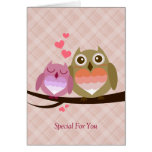 Cute Owl Couple Full of Love Heart Greeting Cards