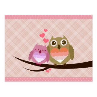 Cute Owl Couple Full of Love Heart Invitation Postcard