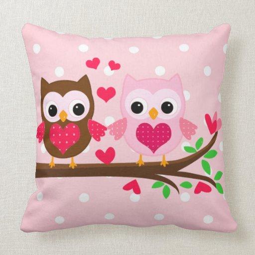 Cute owl couple throw pillow