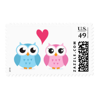 Cute owl couple in love wedding or save the date postage