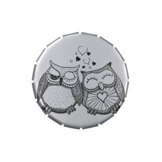 Cute owl couple jelly belly tins