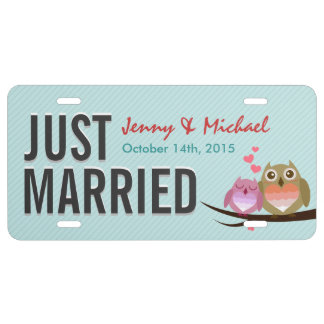 Cute Owl Couple - Just Married Wedding License Plate