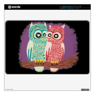 Cute Owl Couple MacBook Decal