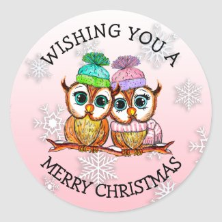 Cute Owl Couple Merry Christmas Classic Round Sticker