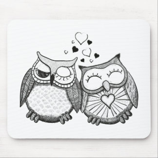 Cute owl couple mouse pads
