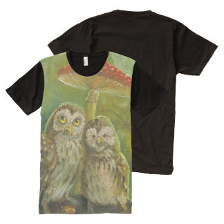 Cute owl couple oil painting All-Over-Print shirt