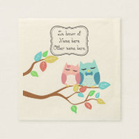 Cute owl couple paper napkin