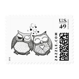 Cute owl couple postage