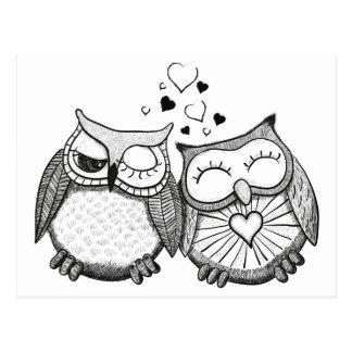 Cute owl couple postcard