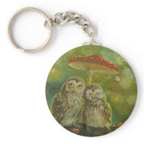 Cute Owl Couple under the Mushroom Keychain