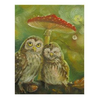 Cute Owl Couple under the Mushroom Letterhead