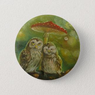 Cute Owl Couple under the Mushroom Pinback Button