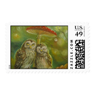 Cute Owl Couple under the Mushroom Postage