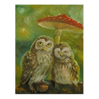 Cute Owl Couple under the Mushroom Postcard