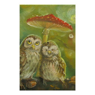 Cute Owl Couple under the Mushroom Stationery
