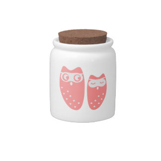 Cute owl couple with hearts candy dish