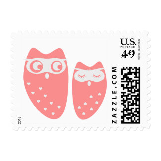 Cute owl couple with hearts postage