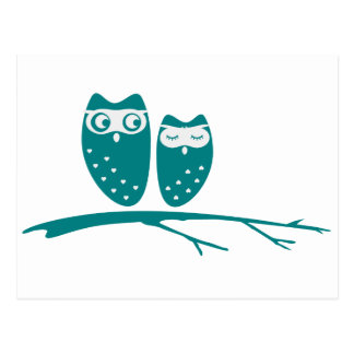 Cute owl couple with hearts postcard