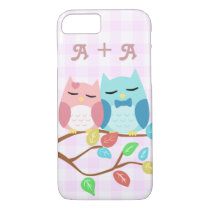 Cute  owl couple with initials iPhone 8/7 case