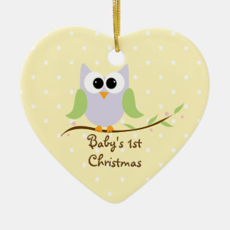 Cute Owl Custom Baby's 1st Christmas Ornament