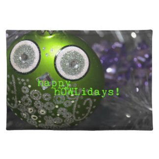 Cute Owl Decoration - happy hOWLidays! Placemat