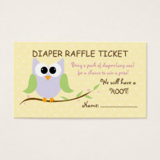 Cute Owl Diaper Raffle Ticket Business Cards at Zazzle