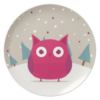 Cute owl dinner plate