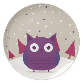 Cute owl dinner plates