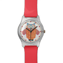 Cute Owl Drawing Colorful Red   Blue Watch
