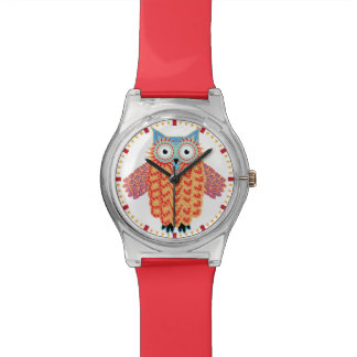 Cute Owl Drawing Colorful Red + Blue Watches