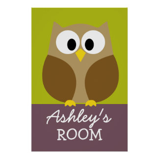 Cute Owl Drawing for Kids Room Print