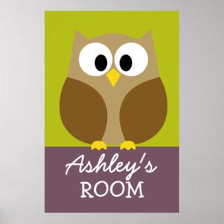 Cute Owl Drawing for Kids Room Print