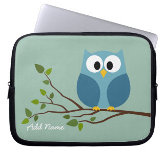 Cute Owl Drawing on a Tree Branch Laptop Computer Sleeve