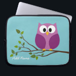 """Cute Owl Drawing on a Tree Branch Laptop Sleeve<br><div class=""""desc"""">Add your name and be a trendsetter with this fun gift! Owls are for hipsters!</div>"""