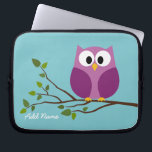 "Cute Owl Drawing on a Tree Branch Laptop Sleeve<br><div class=""desc"">Add your name and be a trendsetter with this fun gift! Owls are for hipsters!</div>"