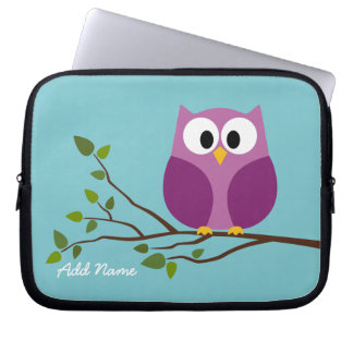 Cute Owl Drawing on a Tree Branch Laptop Sleeve