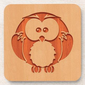 Cute owl engraved in wood effect coaster