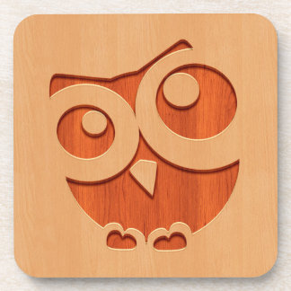 Cute owl engraved in wood effect drink coaster