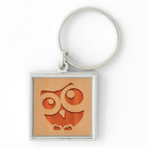 Cute owl engraved in wood effect keychain