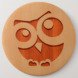 Cute owl engraved in wood effect pinback button
