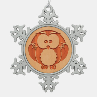 Cute owl engraved in wood effect snowflake pewter christmas ornament