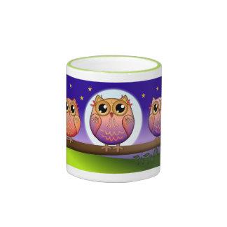 Cute Owl family and full Moon mug