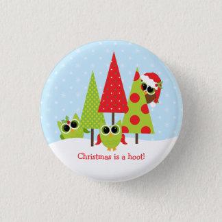 Cute Owl Family Christmas Button