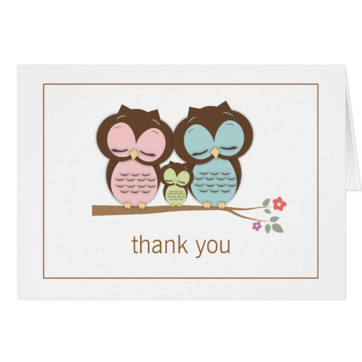Cute Owl Family Couple Thank You Note Card