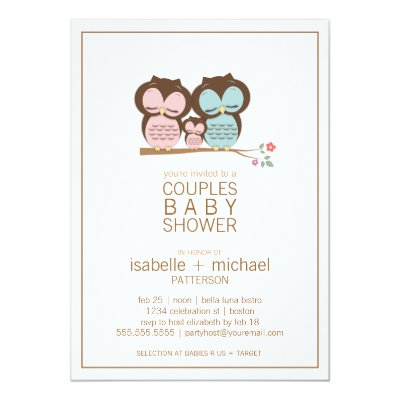 Cute Owl Girl Baby Shower Invitation Pink U0026 Purple | Zazzle