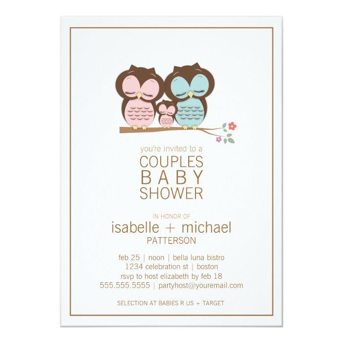 Family Baby Shower Invitations: Cute Owl Family Couples Baby Shower Invitation